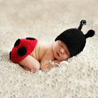 Boy Summer Crochet Hats Cute Baby Infant Hand Crocheted Ladybug Costume Photo Photography Prop 0-12 Months Newborn Animal Hat Costume Red Free Shipping