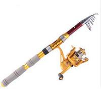 Wholesale 2 m Fly Fishing Rod Gold Fish Reel Carbon Telescopic Ice Rods Top Quality Fishing Pole Set Tackle Gear Accessories