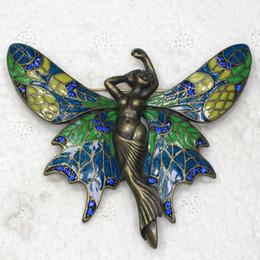 Wholesale C877 B Sapphire Crystal Rhinestone Enameling Fairy Angel Butterfly Pin Brooch Jewelry
