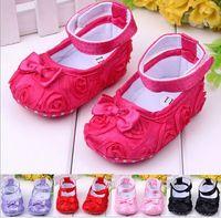 Wholesale 10 off Discount New Big Rose flower Baby First Walker Shoes infant baby prewalker kids Antiskid shoes girls shoes pairs Melee