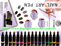 Wholesale 2014 NEW Fashion Nail Art Pen Painting Design Tool colors to Choose Drawing Gel Made Easy mixs color gift