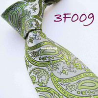 Neck Tie Ties Shanghai China (Mainland) YIBEI Mens ties Retro Silver With Green Paisley Woven Necktie Silk Tie fashion Ties for men dress shirts Wedding