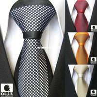 Wholesale YIBEI Coachella Men s ties Border Polka Dot Spots Necktie Jacquard Woven Neck tie fashion Tie for men dress shirts Wedding Tie