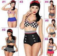 Wholesale 2014 new vintage swimwear women swimsuit sexy high waist bikinis for women padded push up swim suit bathing suits