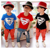Unisex Summer cotton 2-6yrs boys summer Short T-shirt kids superman T-shirt Children Kids Clothing Tees Cool Superman Baby Boys T Shirts L016