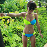 Wholesale Two absolutely dazzle wear fluorescent green color sexy bikini swimwear female swimsuit