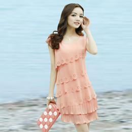 Wholesale 2014 new women Slim short sleeved chiffon dress cake skirt summer tide