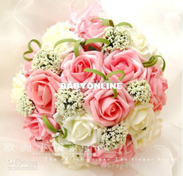 Wholesale Perfect Wedding Favors Wedding Bouquet Sweetheart Roses Artifical Silk Flower Bride Holding Flowers
