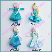 baby bow clippie - cartoon character hair bows girl clips Snowflake girl baby character hair bow clips Anna Elsa hair clippie