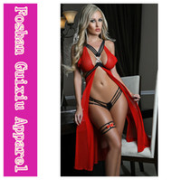 Wholesale Hot Sale Sexy Women s Underwear Sexy Lingerie Lingerie Uniform Strappy Mesh Flyaway Gown Set Red Blue CB9519