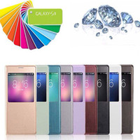 For Samsung PU Wholesale Official S View Wake Sleep smart case open window Cover Flip cases for Samsung Galaxy S4 i9500 S 4 S5 S 5 i9600 Note 3 Note3 N9000