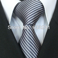 Wholesale YIBEI Ties Silver With Black Gray Stripe Necktie For Wedding Formal Men Neck Tie for men dress shirts Wedding
