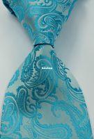 Wholesale N03 New Classic Paisleys Turquoise White JACQUARD WOVEN Silk Men s Tie Necktie