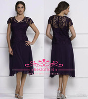 2014 black Tea Length Mother of Bride Dresses Sheer Lace V N...