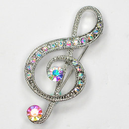 12pcs lot Wholesale Crystal Rhinestone Music Note Pin Brooch Fashion brooches pins Costume jewelry gift C917