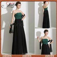 Reference Images Sweetheart Chiffon JG048 Tube Top Lime Green Top Black Skirt Bridesmaid Dress