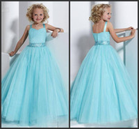 Wholesale Princess Blue Sweet Pleated Organza Ball Gown Girls Pageant Dresses With Rinestone Sash Flower Girl Dresses