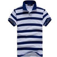 Men Polo Tops Free Shipping 2013 Men Casual Sport Stripe Short Sleeve Turn-down Collar Polo Shirt 4Colors Size M-XXL MTP026