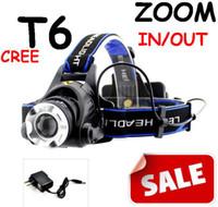 al por mayor faros hid en venta-venta libre del envío de la lámpara de zoom del CREE T6 la linterna del faro del CREE XM-L XML T6 LED de la linterna del faro 1600 Lm con zoom zoom in / out + cambiador