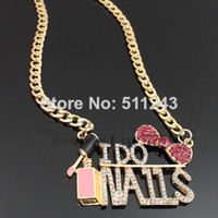 Wholesale Chunky gold crystal I do nail necklaces pendants women bling jewelry