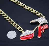 Wholesale Chunky Gold plated enamel Rhinestone Gun High Heel Necklace accessories