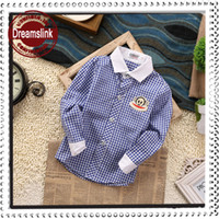 Wholesale 2014 New Style Grid Boy T shirt for sping summer autumn children shirt kids clothes