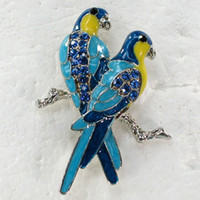 Men's african parrots - C934 B Sapphire Crystal Rhinestone Enameling Parrot Fashion Costume Brooch Pin Jewelry gift