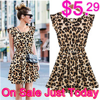Wholesale Vintage Spring and Summer Derss New Women Sexy Dresses Ruffles Casual Party Mini Casual Pleated Leopard Print Women s Dress