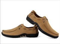 Wholesale 2014 Brand Genuine leather flat shoes casual big yards shoes Handmade mens casual loafers Leather shoes