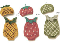 Wholesale 2014 baby girl boy Romper Hat fruit infant One piece cotton jersey Jumpsuits children clothes kid clothing Hami melon pineapple strawberry