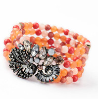 Alloy adorn strands - Elastic multilayered beads bracelet adorned with crystal flowers orange red rosary wide vintage women bracelet high quality jewelry gift