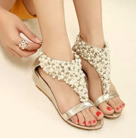 beaded zipper sandal - 2014 New arrival shiny beaded zipper low heeled wedge sandals gold black flip flops women shoes spring summer dress sandals