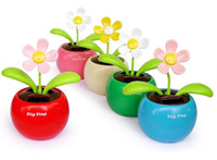 Wholesale Novelty Toys Car Decor Flap Flip Solar Powered Flower Flowerpot Swing Solar Dancing Toy Ornaments lt lt lt ikhoihy