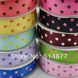 Wholesale 20 Yards quot mm Grosgrain Ribbon Print Dots Appliques Craft Wedding