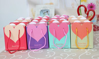 Wedding   Hot Sale! Big size 9.5*6*10.5cm New Heart Candy box Hand bag for wedding favor gifts box 100pcs free shipping