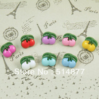 Wholesale 100pcs U pick Child Buckle Children s Cothing Cherry Plastic Sewing Button DIY Crafts Mix