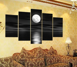 free shipping!!Black And White Color Moon Painting Art ,Real Handpainted Modern Canvas Oil Painting , Top Home Decoration painting