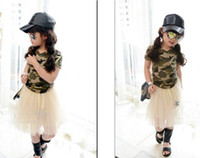Girl Summer  Girl's T-shirts girl summer style clothes girl Camouflage Short sleeve T-shirt Kids Clothing