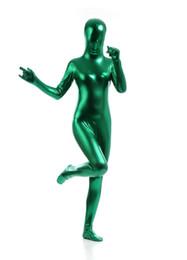 Trajes de cuerpo de spandex al por mayor en Línea-Nuevo Gracioso Unicolor Metallic Lycra Spandex Full Body Unisex Catsuit Zentai Traje-Venta al por mayor