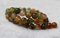 Wholesale 8 mm DIY beaded jewelry natural stone semi precious natural peacock color agate green agate