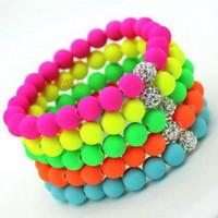 Beaded, Strands bead bracelet stretch - Hot Neon Bracelet fluorescence Color Beads Disco Shamballa Ball stand stretch bracelets handcraft jewelry