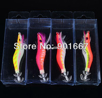 Wholesale Hot pc Squid Hook Fishing Lures cm g Squid Jigs Lures Color Squid Jigs Hook Mixed Squid Lure