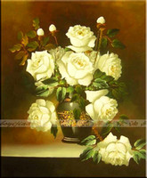 Cheap hand painted large oil painting Pure fashion flower paintings mural rose