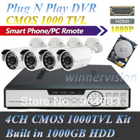 Wholesale Built in GB Channel Outdoor CCTV security camera system Color CMOS TVL Cameras Video Kit Plug N Play HDMI