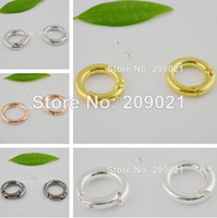Alloy jewelry findings - 50PCS mm Mixed Color Round Shape Spring Clasp For Bracelet Charms Jewelry Finding