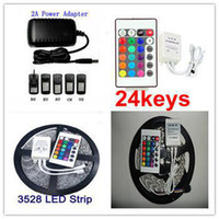 Holiday SMD 3528 Yes Wholesale - - RGB 3528 SMD LED Strip Light + Remote Control 24key + Adapter 12V 2A Free by China Post
