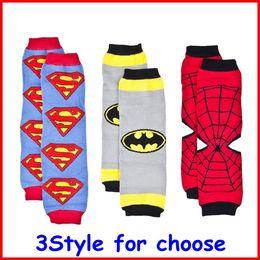 Wholesale New hot sale Baby Superman Batman Spiderman Super Hero Leg Warmers Infant Chevron legwarmers baby Leggings Socks pc pairs melee