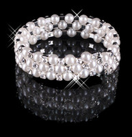 Wholesale Beautiful Hot Sale Row Sparkling Bracelet Pearls Wedding Bridal Party Fashion Jewelry