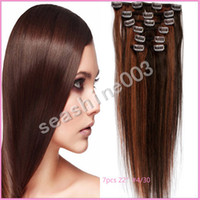 Wholesale 16 quot quot in stock Peruvian virgin human remy hair mixed color Clip in Hair extension Straight Hair g pc set