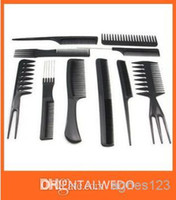 PVC Black  Free shipping 1set 10pcs Salon Barbers Hair Styling Hairdressing hair accessories Plastic Comb Stylist Set Black Tool wholesale 2014 bigsale